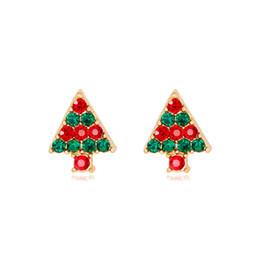 41aefe837 New Christmas Jewelry Colorful Rhinestone Cartoon Christmas Tree Earrings  Womens Stud Earrings Gold Plated Alloy Fashion Jewelry