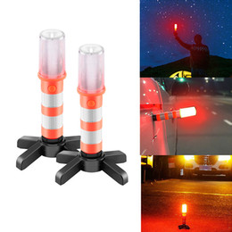 Wholesale Traffic Lamps - 2PCS LED Portable lamp Road Security Flashing Flash Flare Strobe Light With 2 stand For Traffic Warnings Roadblocks Camping Hike