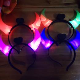 Wholesale Devil Horns Light - new Christmas Ox Horn LED Party Headwear Flashing Light Halloween Hair Clasp Headband Xmas Birthday Gift Devil horns For club star concert
