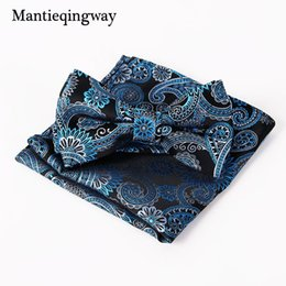 Wholesale Branded Handkerchiefs - Mantieqingway Brand Paisley Bow Tie and Pocket Squares Set for Wedding Men Purple Navy Black Paisley Handkerchief Bowtie Sets