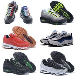 Wholesale cheap neon - 2018 New Cheap Mens sports 95 running shoes,Premium OG Neon Cool Grey air sporting shoes sneakers size 40-46