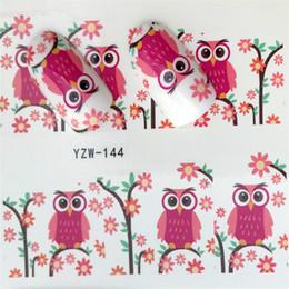 Совиное искусство ногтей онлайн-FWC 1 Sheet Owl On Tree Cartoon Cute Nail Art Water Transfer Sticker Decal For Nail Art Tattoo DIY Tool
