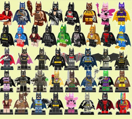 Wholesale Plastic Joker - 100pcs lot Bat Movie joker Figures Complete Set Super Heroes Minifig Bat Man Super Heros Rainbow harely quinn Building Blocks Figure Toys