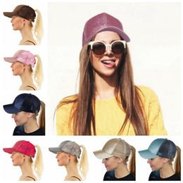 Wholesale Sequin Hats Caps - CC Glitter Ponytail Hat Messy Bun Ponycap Glitter Mesh Baseball Cap Sequin CC Softball Hats 7 Colors 30pcs OOA4755