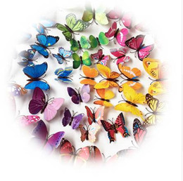 Wholesale famous movie posters - 72pc Butterflies Wall Stickers Home Decor Art Wall Decals For Kids Room Wall Stickers Kitchen Sticker Decoration Poster