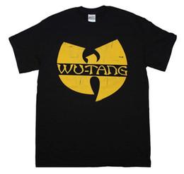 Camiseta amarilla barata online-Wu Tang Clan Classic Yellow Logo T-Shirt de moda para hombre de manga corta barato venta O cuello camiseta envío gratuito