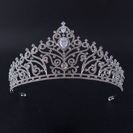 Wholesale Tiaras End Crowns - European High-end Zircon Crown Bride wedding dress headdress princess birthday party hair ornaments