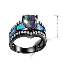 Wholesale fasion rings - New Fasion Black Gold Plated Rainbow Color Love Heart Rings For Women Full Zircon Blue Fire Opal Ring Wedding Gifts JY