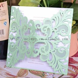 Wholesale Green Invitation Cards - Wholesale- Mint green party supplies laser cut mint green paper card,wholesale blank wedding invitations 2016