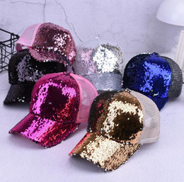 Fashion Mermaid Sequins baseball hats Summer mesh cap casual ball cap  snapback baseball caps hats for men women trendy Hip Hop hat b6b0c1e1d89f
