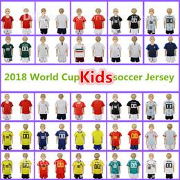 Wholesale Germany Kits - 2018 World Cup Kids Kit soccer Jerseys Germany Argentina MESSI LUKAKU Portugal Ronaldo England KANE Mexico Brazil Football jersey + shorts