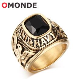 l'anello di marina anchor Sconti OMONDE Classic Men Stati Uniti Army Navy Anelli Golden Eagle in acciaio inox e Ancoraggio per barche con pietra nera rossa per gioielli maschili