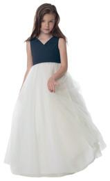 Lovely IvoryNavy Blue Tulle / gasa con cuello en v vestidos de niña de las flores vestidos del desfile de las muchachas Brithday / vacaciones vestido tamaño personalizado 2-14 FF726138 desde fabricantes