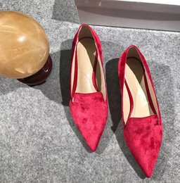 Wholesale Red Foot Pedal - New listing leather pedal flat shoes with the flat pearl pointed woman sets foot on British leisure shoes