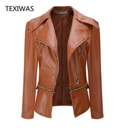Wholesale leather brown jacket women - TEXIWAS 2017 autumn and winter zipper stitching Large lapel long sleeve jacket jacket ladies clothing casual PU leather