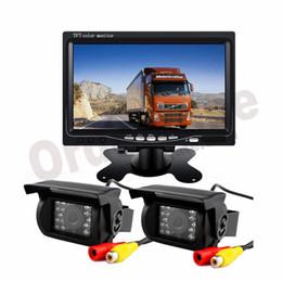 "Monitor de camara para buses online-2x 18 LED IR cámara de marcha atrás 12V / 24V + 7 ""Kit de visión trasera del monitor LCD + 10m de cable gratis para camión de autobús largo"