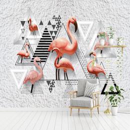 2019 wallpaper hintergründe kostenlos Freies Verschiffen Nordic Minimalist 3D Schwarz Weiß Geometrische Flamingo Hintergrund Wand Jungen Mädchen Schlafzimmer Benutzerdefinierte Wandbild 3D Fototapete rabatt wallpaper hintergründe kostenlos