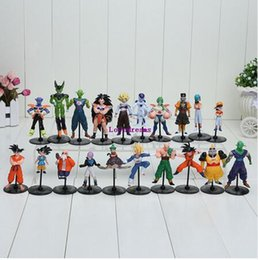 Wholesale Dragon Ball Freeza - 20pcs set Dragon Ball Z GT Action Figures Crazy Party 10CM Cell Freeza Goku PVC Dragonball Figures For Kids Gifts Phone Accessories
