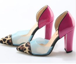 Wholesale Leopard Chunky Heels - 2018 Sexy Fashion Transparent Colorblock Leopard Pumps Slip On Pink Chunky Women Party Shoes High Heels Pumps Size 42