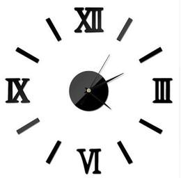 YENI Roma Dijital Numarası duvar saati diy 3d ayna Sessiz Saat Akrilik Kısa Sessiz DIY duvar saati modern tasarım Toptan nereden