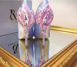 Wholesale Ivory Mid Heel Shoes - Luxury Designer Gold Leave Eden Heel 2018 navy stain pumps shoes for wedding silk bridal heels evening prom shoes