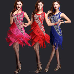 Wholesale latin dance competition costumes - New Women Competition Dance Clothes Sequins Costume Set with Sleeves Fringe Salsa Dresses Latin Ballroom Dance Dress