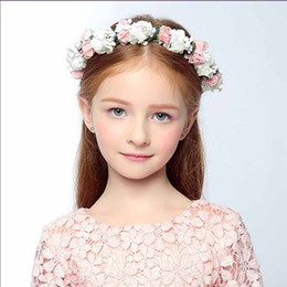 Wholesale Flower Wreath Tiara Wholesale - headbands accessories headpieces wedding tiara Boho floral wrist flower girl garland headwear crown of flowers hair wreath