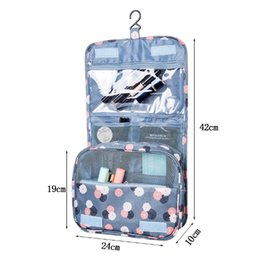 Wholesale Hanging Beauty Organizer - Wholesale Hot Hanging Bag Women Portable Cosmetic Polka Dots Organizer Beauty Makeup Case Pouch Zip Bags Free shipping