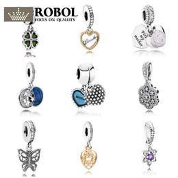 2019 campane in argento sterling ROBOL Genuine 925 gioielli in argento sterling ciondolo campana perla gioielli che rendono adatto originale braccialetto di fascino regalo campane in argento sterling economici