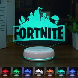 Fortnite 3D Table Lamp RGB Changeable Mood Lamp 7 Color Light Crack Pattern Base Cool Night Light Gift