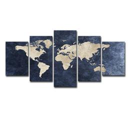 Фотография карта мира онлайн-Современная Абстрактная Живопись Печать Холст Плакат Home Decor Настенные Рисунки 5 Шт. Синий Карта Мира Для Гостиной Офис Decorativ