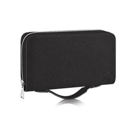 Wholesale Damier Ebene - Wallet round zipper travel case Black Purse Men Real Epi Leather Brown Passport bag Holder designer Damier Ebene clutch