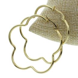 Wholesale Flower Shaped Hoop Earrings - Wholesale- Factory Wholesale Gold-color Flower Shaped 50mm Big Loop Circle Stainless Steel Hoop Earring for Women Girl Wedding Gifts Punk