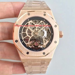 Wholesale Skeleton Date Automatic Mens Watch - 2 Style Luxury Top Quality Watch Best JH Factory 44mm Offshore 18k Rose Gold Skeleton Swiss Mechanical Transparent Automatic Mens Watches