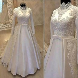 Wholesale white satin bow belt - Vintage High Neck Muslim Wedding Dresses 2018 With Long Sleeve Lace Overskirts Satin Country Bridal Gowns With Belt