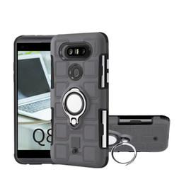 Wholesale Q8 Cars - Beetle Car Holder Metal Finger Ring Case For LG (K10 K8 K4)2017 EU Q8 Q6 Defender+Rugged Armor Square Hard PC+TPU Hybrid Shockproof Covers