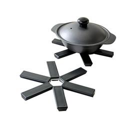Wholesale Round Mattresses - Wholesale- Folding Mattress Table Mat Round Heat Resistant Pad Black Creative Pot Holder Kitchen Accessories Tools