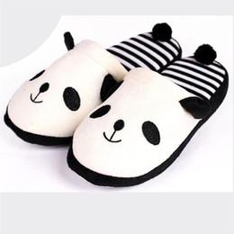 Женщины зима Прекрасный мультфильм Панда домашний пол мягкая полоса тапочки Женская обувь sapato masculino calzado Bhombre терлик от
