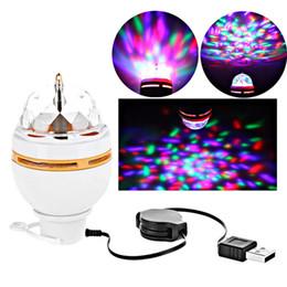 2019 palla di musica Colorful 3W LED Discoteca DJ Party Music Crystal Magic Ball Luce della fase portatile Auto Lampada girevole con interfaccia USB Vendita calda palla di musica economici