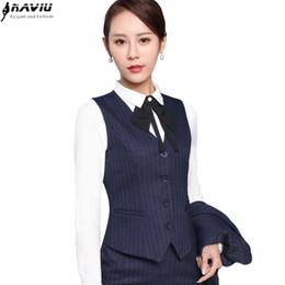 Wholesale Skirt Suit Ladies Formal - 2017 Spring Business formal female stripe vest skirt suits fashion slim office ladies plus size work wear vests suits