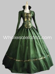 Викторианская одежда онлайн-New Green Cotton & Brocade Gothic Victorian Gown Period Dress Theatre Clothing