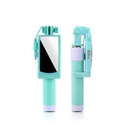 Universelle selbststäbchen online-Universal Selfie Stick mit Spiegel Einbeinstativ für iPhone 6 6s Plus 5s SE 4s Palo Selfie Stick für Samsung S7 Rand S6 S5 S4 Android Wired Selfie