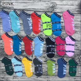 Les sous-vêtements les plus courts des filles en Ligne-Pink Letter Socks Pink Anklet Sport Bonneterie Coton De Mode Chaussettes Courtes Slipper Girl Sexy Love Chaussettes De Navire Rose D'été Sous-vêtements