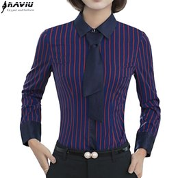 Wholesale Striped Formal Blouse Women - Fashion clothes women stripes tie shirt spring elegant long sleeve slim formal chiffon blouse office ladies plus size tops