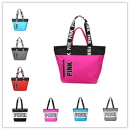 Wholesale Pink Shopping - Pink Letter Handbags 9 Styles Women Shoulder Bags love Pink waterproof girls shopping bag handbag secret Travel Duffle Bags Beach Bag 2018