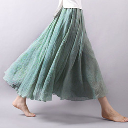 827c94ce6e 2018 Moda Casual Mujeres de Lino de Algodón Faldas de Verano Cintura  Elástica Verde Femenino Maxi Faldas Largas Boho A-line Falda de Playa  Plisada