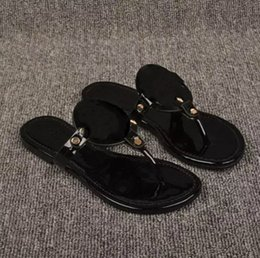 Wholesale white silver tie - 2018 Black flip-flops shiny patent Genuine Leather Brand New Women Thong Sandals Summer Women Famous Flip Fllops