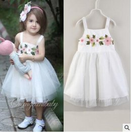 boutique di fiori Sconti Baby Girl Ricamo Flower Princess Dress per feste e matrimoni 2018 Summer Baby Girls TUTU Dress Infant Toddler Girl Boutique Clothing