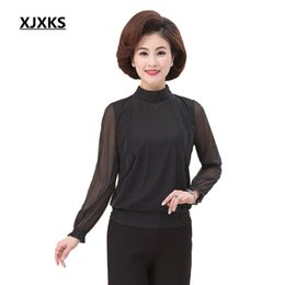 Wholesale Half Age - XJXKS Spring and Autumn Middle Aged Women Half Turtleneck Long Sleeve Spot Casual Chiffon Mother Summer Blouse Tops 104