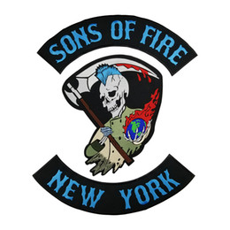 Wholesale Motorcycle Fire - HOT SONS OF FIRE NEW YOURK SKULL MOTORCYCLE COOL LARGE BACK PATCH ROCKER CLUB VESTOUTLAW BIKER MC PATCH FREE SHIPPING